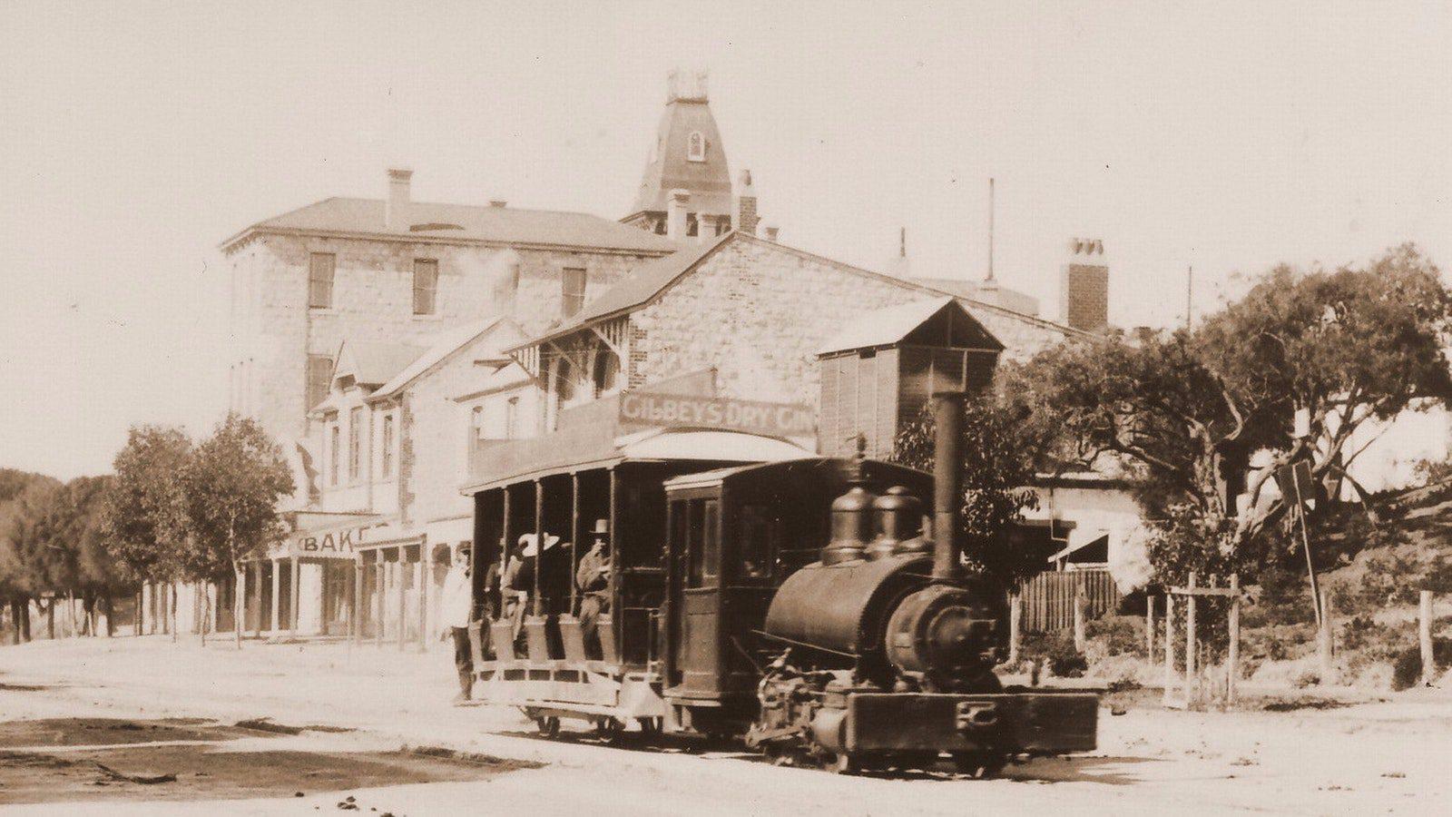 A Steam Tram on Sorrento Main Street via Nepean Historical Society