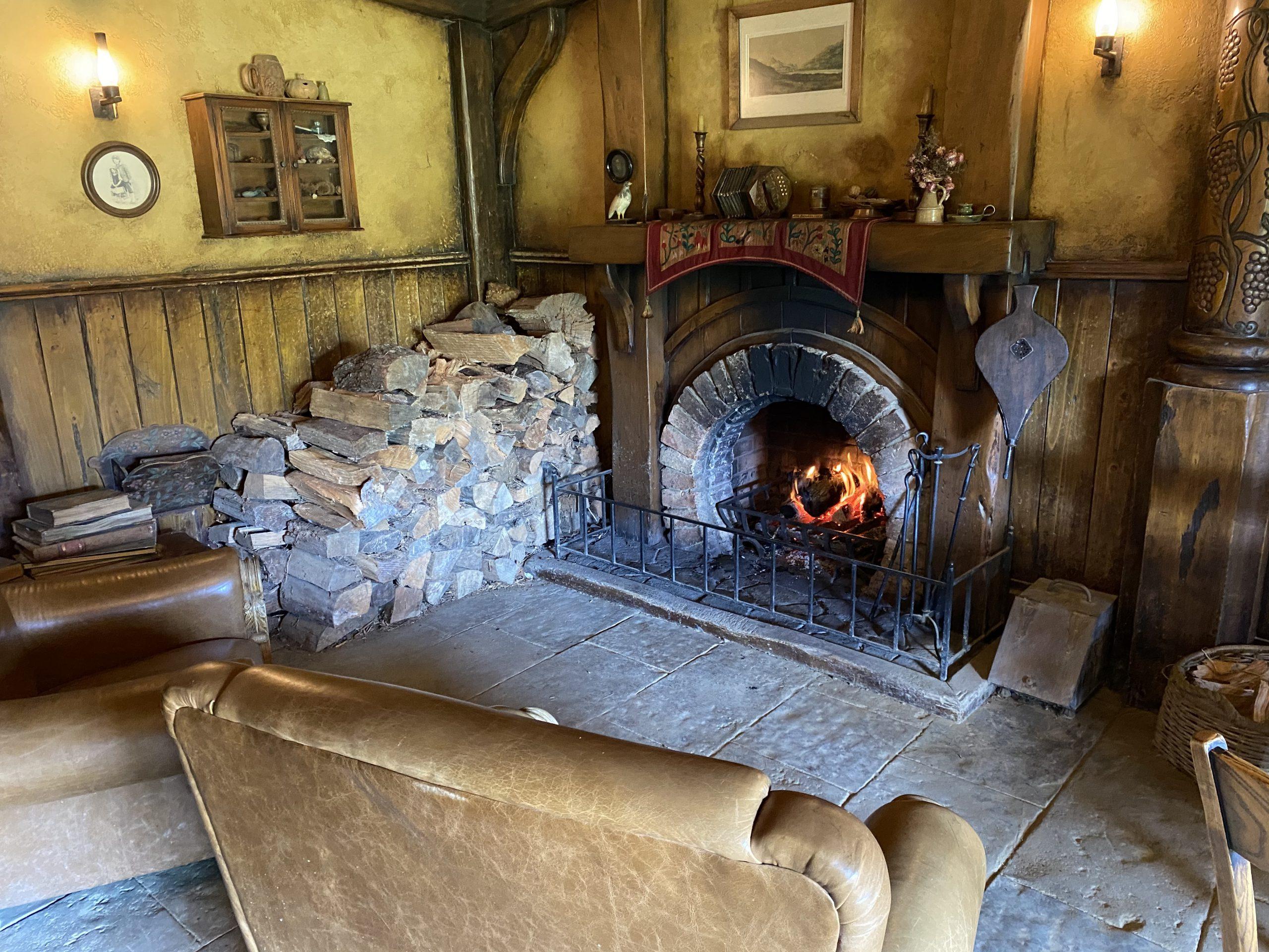 Real Log Fires at The Green Dragon Inn, Hobbiton Movie Set